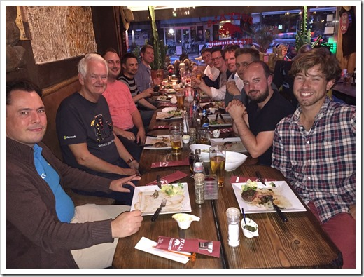 Having dinner with John Craddock and former OGD colleagues (click for larger version)