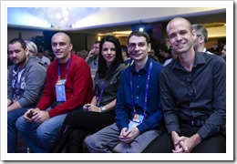 Ben, Srdan, Romeo and Mustafa, moments before Keynote (click for larger photo, by Sinergija Organization)