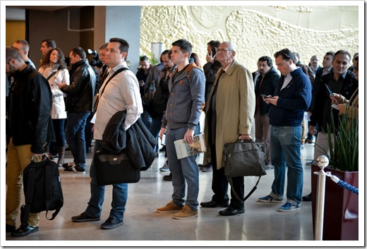 Waiting in line for registration (click for larger photo, by Sinergija Organization)