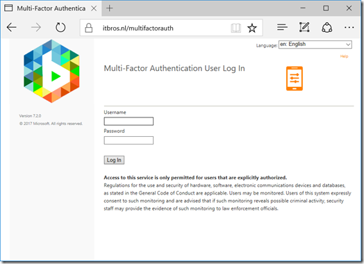 Example of a branded Azure Multi-Factor Authentication Server User Portal (click for original screenshot)