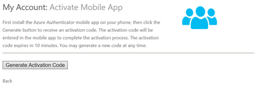 Screenshot of the Activate Mobile App screen in the MFA User Portal (click for original screenshot)