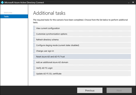 The 'Reset Azure AD and AD FS Trust' option in Azure AD Connect (click for original screenshot)
