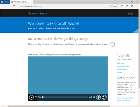 Welcome to Microsoft Azure (click for original screenshot)