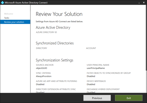 Azure AD Connects Review Your Solution screen (click for original screenshot)