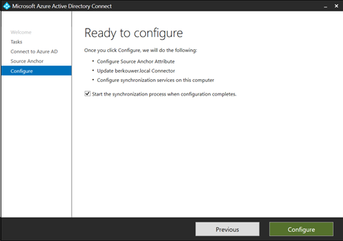 Azure AD Connect - Ready to configure (click for original screenshot)