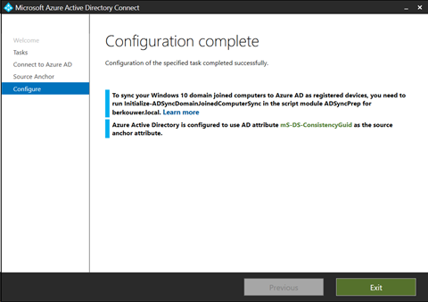 Azure AD Connect - Configuration complete (click for original screenshot)