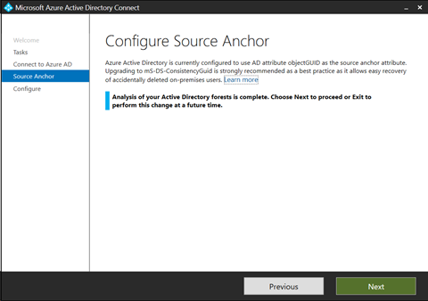 Azure AD Connect - Configure Source Anchor (click for original screenshot)