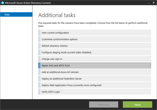 Azure AD Connect's Repair AAD and ADFS Trust task (click for original screenshot)