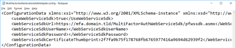 Contents of the MultiFactorAuthenticationAdfsAdapter.Config file (click for original screenshot)