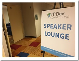 The IT/DEV Connections 2017 Speaker Lounge (click for larger photo, by Rod Trent)