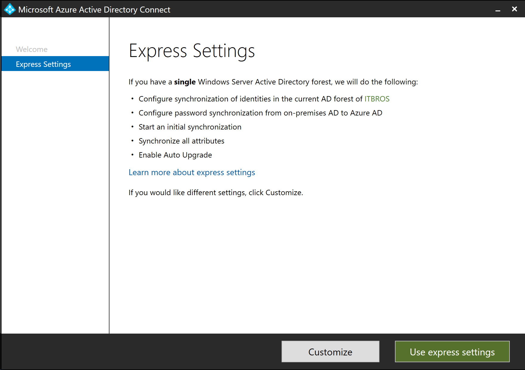 Microsoft Azure Active Directory Connect - Express Settings (click for original screenshot)