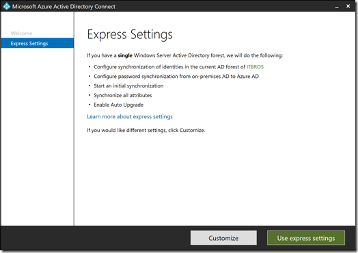 Azure AD Connect - Express Settings