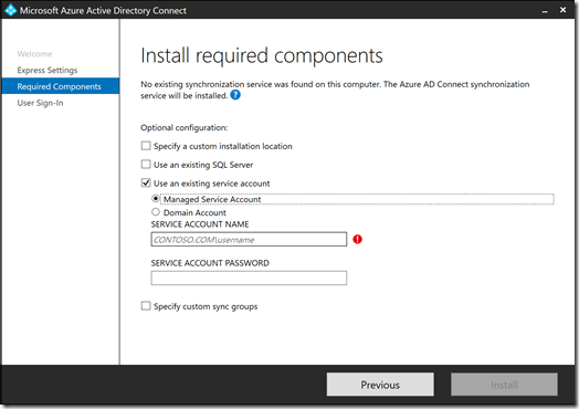 Azure AD Connect - Install required components - Use an existing service account