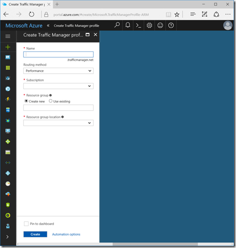 Create a Traffic Manager Profile in the Azure Portal (click for original screenshot)