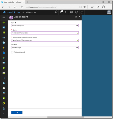 Add a Traffic Manager Endpoint in the Azure Portal (click for original screenshot)