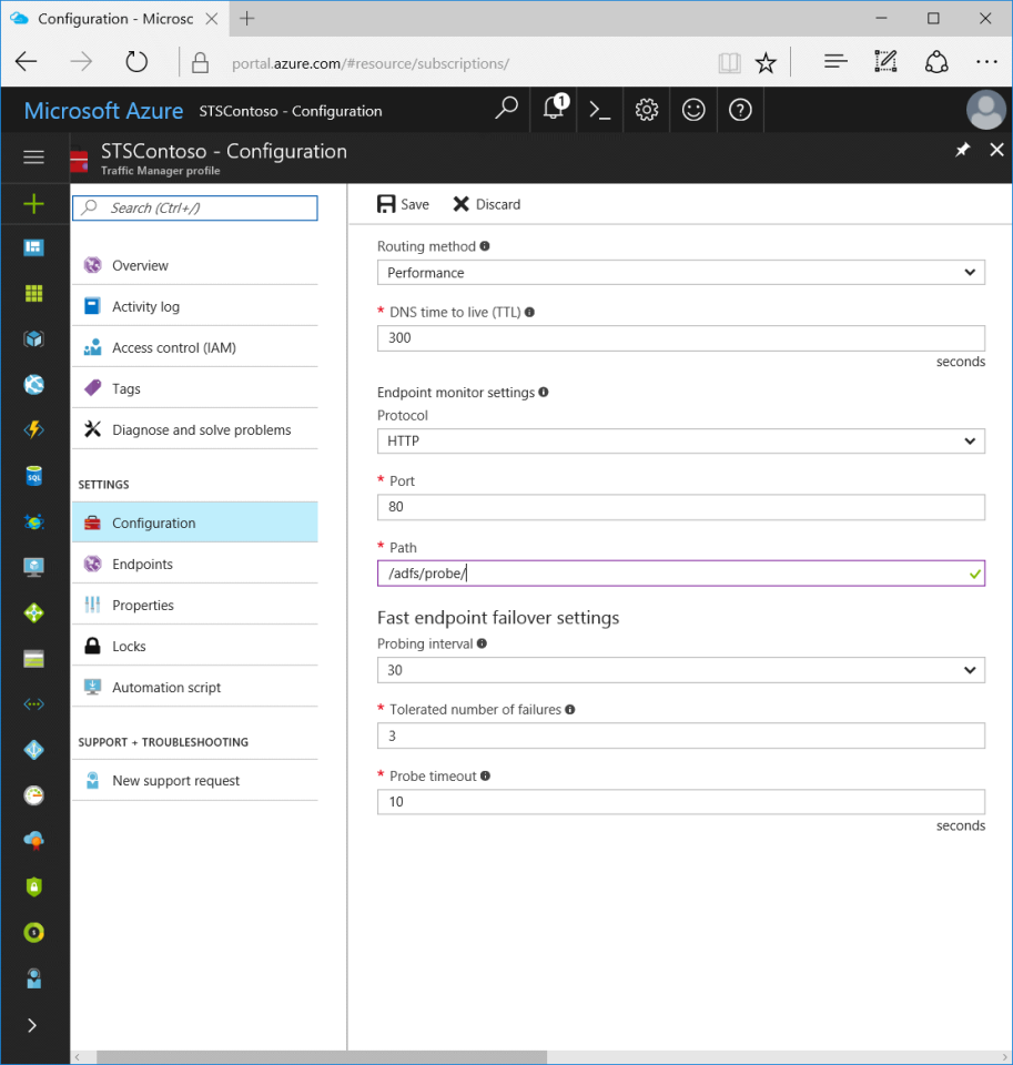 Configuring Geo-Redundancy for AD FS on-premises with Azure