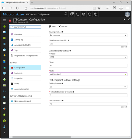 Configure Traffic Manager Endpoint Monitoring in the Azure Portal (click for original screenshot)