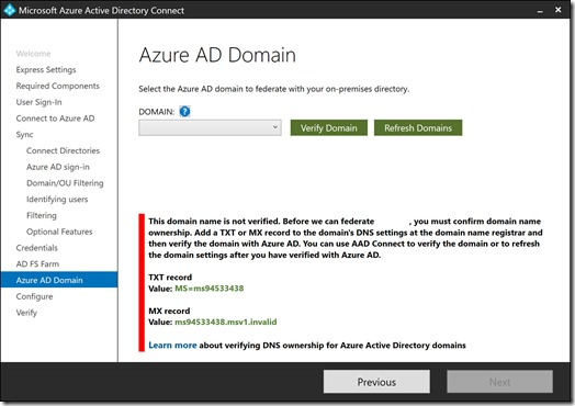 Azure AD Connect - Verify Azure AD Domain