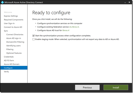 Azure AD Connect - Ready to configure