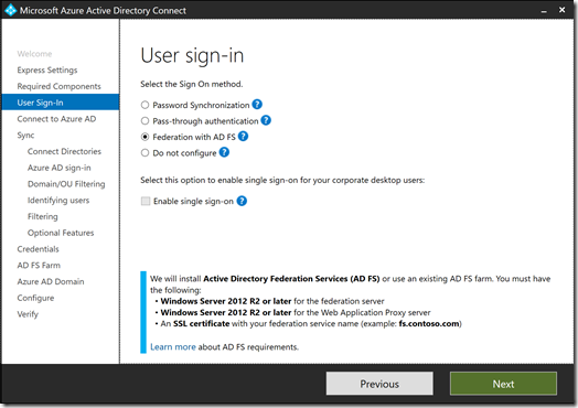 Azure AD Connect - User sign-in