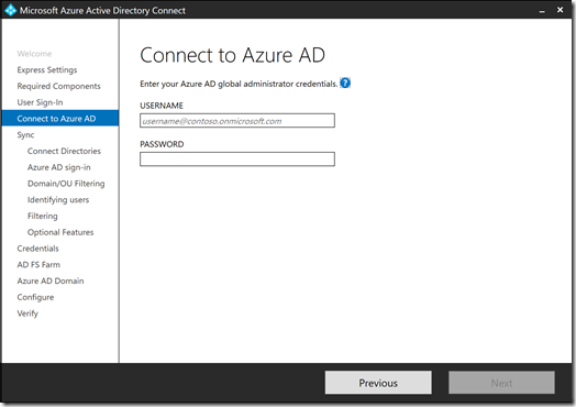 Azure AD Connect - Connect to Azure AD