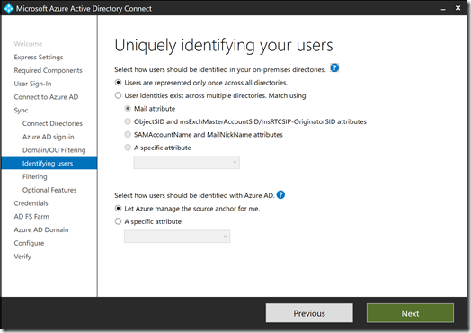 Azure AD Connect - Uniquely identifying your users