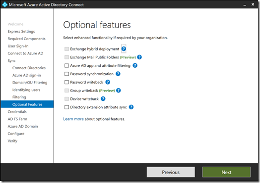 Azure AD Connect - Optional Features