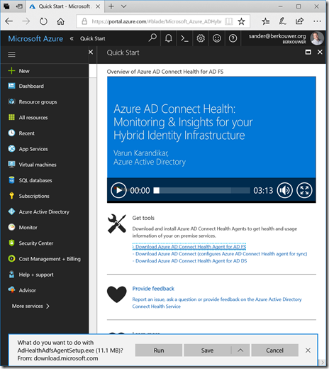 Download the Azure AD Connect Health Agentfor AD FS from the Azure Portal (click for orginal screenshot)