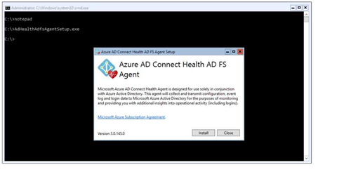 Installing the Azure AD Connect Health Agent for AD FS, step 1 (click for original screenshot)
