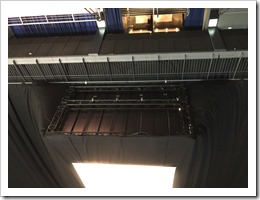 The back of the stage for room 8, suspended about 10 meters in the air (click for larger photo)