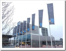 Tech Summit flags marking the way to Entrance C (photo by Microsoft Netherlands)