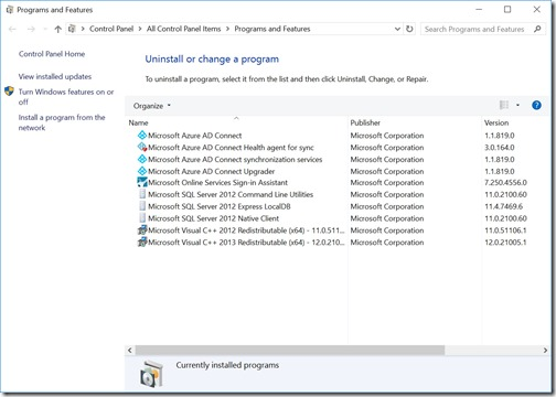 Azure AD Connect's version and components in Programs and Features (click for original screenshot)