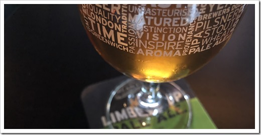 A nice Limber Up Pale Ale by the Meantime Brewing Company (click for larger photo)