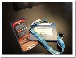 My ESPC 18 badge and party invitation (click for larger photo)