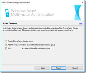 Configuring Active Directory for MFA Server
