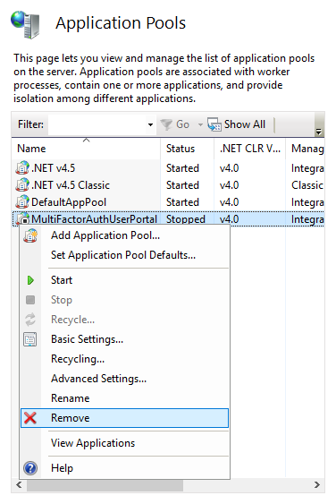 Remove Azure MFA Server's User Portal Application Pool
