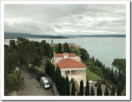 An overview of the St Bernardin Resort with Croatia on the horizon (click for larger photo)