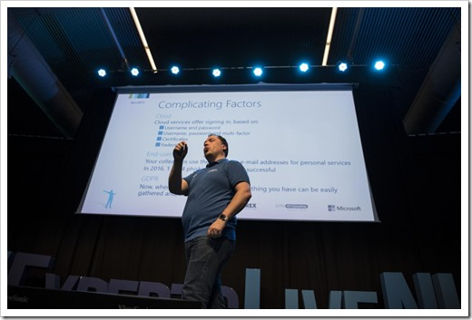 On Stage at Experts Live NL (click for larger photo by the ExpertsLive Organization)