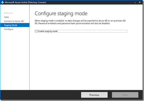 Microsoft Azure Active Directory Connect - Configure staging mode