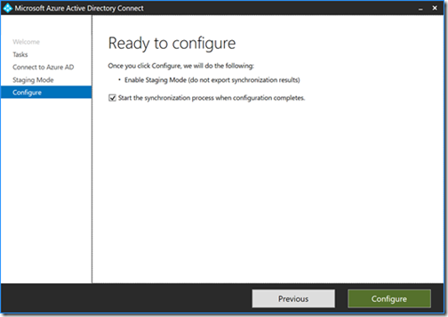 Microsoft Azure Active Directory Connect - Ready to configure