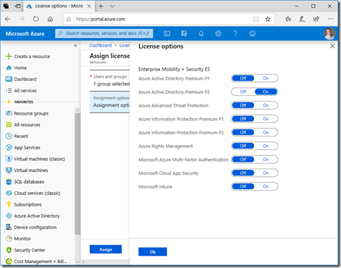 License assignment options for EMS E5, inclusing the Azure AD Premium P2 subscription license