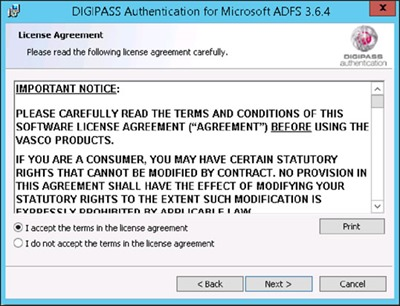 DIGIPASS Authentication for ADFS - License Agreement