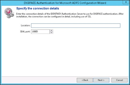 DIGIPASS Authentication for Microsoft ADFS Configuration Wizard - Specify the connection details