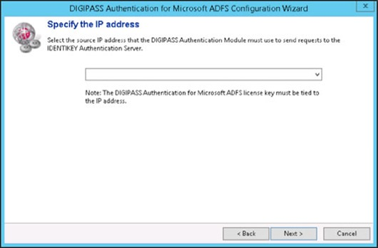 DIGIPASS Authentication for Microsoft ADFS Configuration Wizard - Specify the IP address