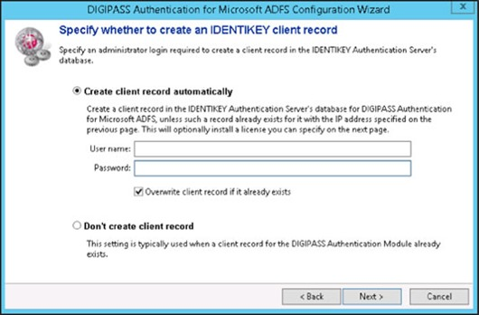 DIGIPASS Authentication for Microsoft ADFS Configuration Wizard - Specify whether to create an IDENTIKEY client record