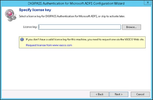 DIGIPASS Authentication for Microsoft ADFS Configuration Wizard - Specify license key