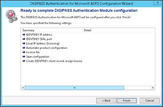DIGIPASS Authentication for Microsoft ADFS Configuration Wizard - Ready to complete DIGIPASS Authentication Module configuration