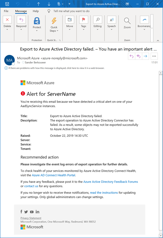 Example alert mail message when you exceed Azure AD Connect's Export Deletion Threshold