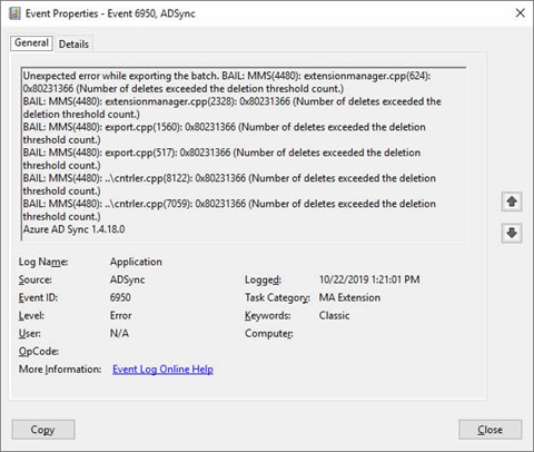 EventID 6950 with source ADSync (click for original screenshot)