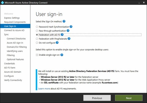 Microsoft Azure Active Directory Connect Wizard - User Sign-in screen (click for original screenshot)